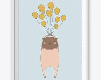 Bear with Balloons Art Print. Printable Wall Art. Nursery Wall Art. Kids Room Decor. Bear Nursery Art. Nursery Art Animals. Baby Room Decor.