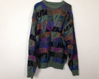 90s pattern knit sweater size XL