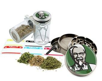 "Smoking - 2.5"" Zinc Alloy Grinder & 75ml Locking Top Glass Jar Combo Gift Set Item # G50120915-18"
