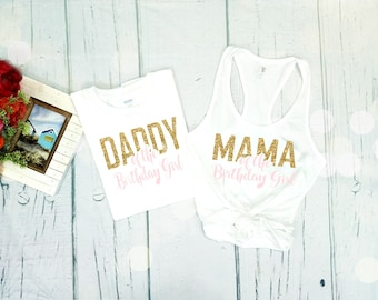 Mama of the Birthday Girl Shirt, Pink and Gold Birthday Girl Mom Shirt, Birthday Mama Shirt, Mom of the Birthday Girl, Mom Tank Top