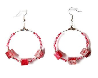 Earrings red and clear square beads and red glass beads