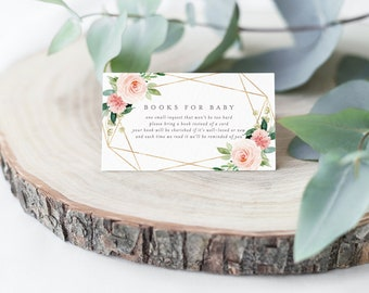 Editable Template - Instant Download Geometric Spring Romance Books for Baby Card