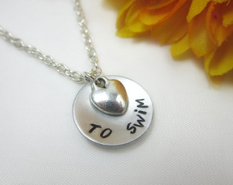 Swimming Necklace. Swimmer. Swimming Jewelry. Personalized Necklace. Swim Team Charm. Monogram Jewelry. Hand Stamping. BirthstoneFlower Girl