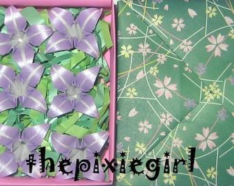ORIGAMI PAPER HANDMADE Pearlescent Pearl Pastel Purple Iris Flowers With Gift Box 1st Anniversary Wedding Gift