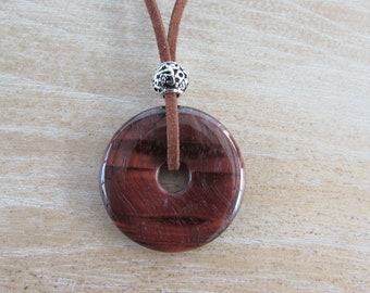 "Necklace, suede cord, round Tiger eye donut ""Pi"""