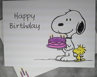 """Hand Drawn Snoopy & Woodstock Happy Birthday card 5"""" x 7"""" with Embellished Envelope - Personalize at no extra charge! - Free Shipping"""