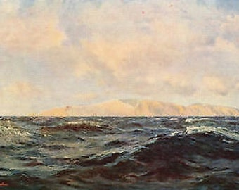 "Henry Moore 1888 Oil Painting ""Nearing The Needles"" Vintage Classic Artwork 1930 Seascape Book Print"