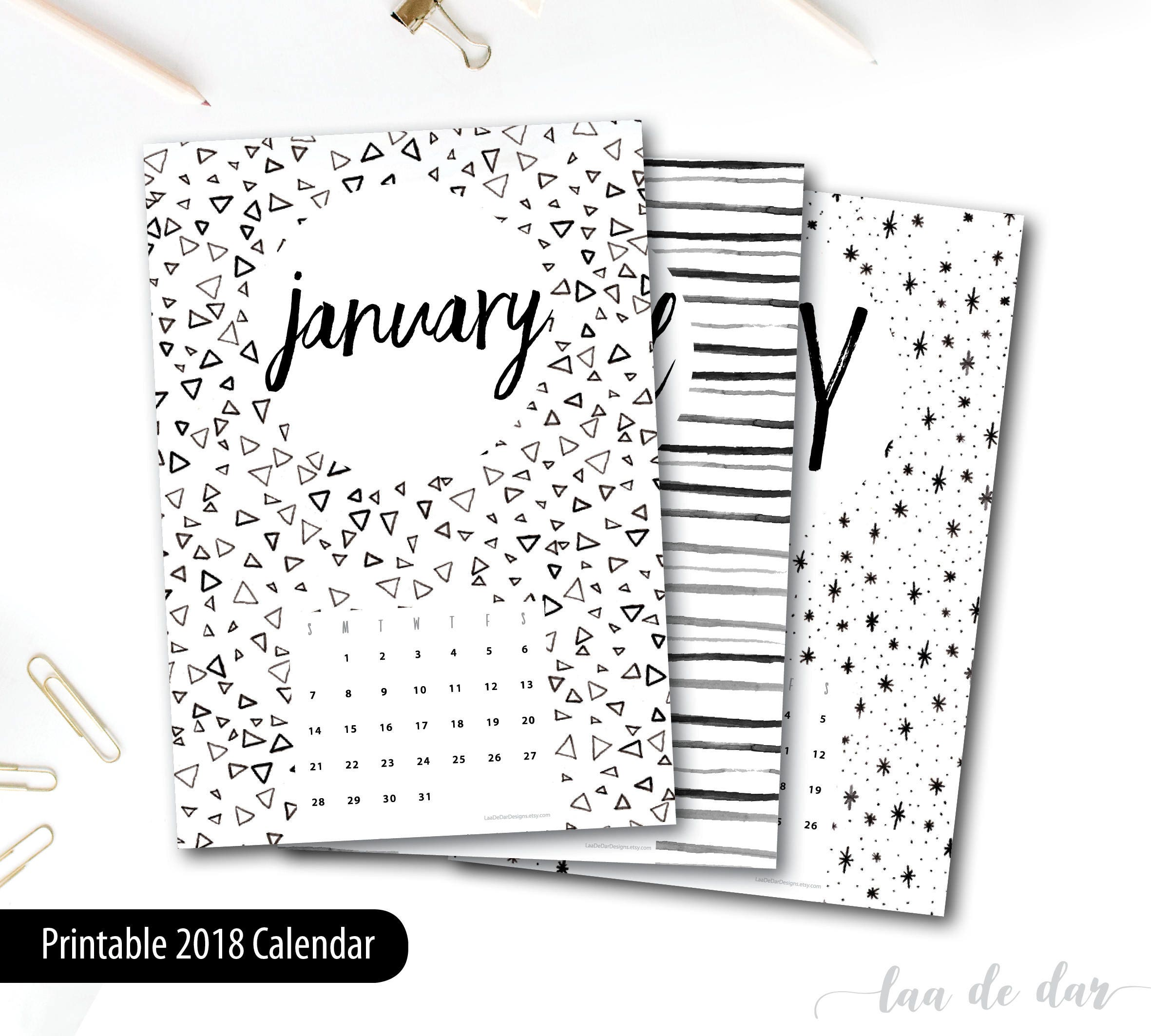 2018 Printable Calendar A4 Instant Download 12 Month New