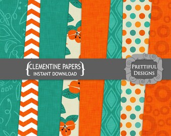 Orange and Turquoise Digital Paper for Commercial Use
