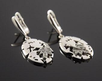 FINAL SALE 50% OFF, Unique earrings, Silver earrings, Women earrings, Oval earrings, 925 silver earrings, Dangle earrings