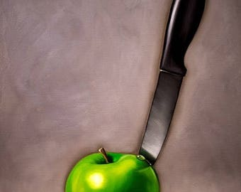 "Green Apple and Knife - Original Still Life Oil Painting on 7/8"" thick Cradled Wood Panel by Lauren Pretorius"