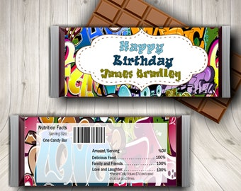 Graffiti, Hip Hop, Candy Bar Wrapper, Graffiti Art, Birthday, Favors, Hipster, Canvas, Graffiti Name, Party, Printable, Graffiti Font