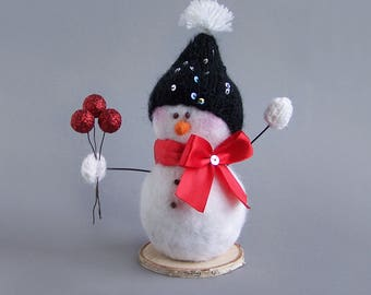 Christmas snowman decor with hat, bow, mittens. White winter rustic Christmas Indoor Decoration. Sparkly holo cute gift 18cm/7""