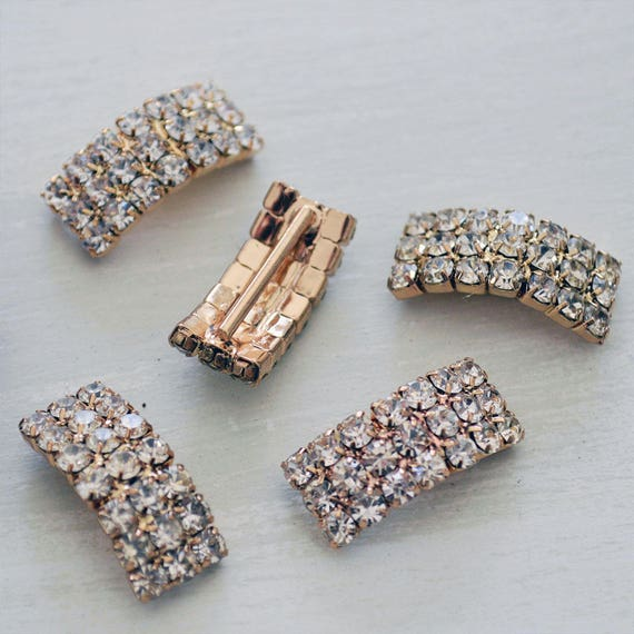 Gold Curved Rhinestone Buckles for Invitations or Decoration with 15mm bar