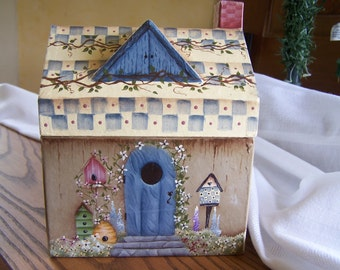 Primitive Folk Art Paper Mache' Cabin Box