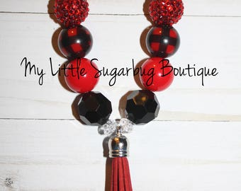 Red Buffalo Plaid Tassel Necklace-Red Black Plaid Tassel-M2M Arya Grace-M2M PipSqueaks Boutique-Baby-Toddler-Girls-Women