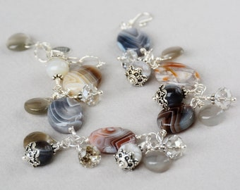 Botswana Agate Gemstone, Crystal and Sterling Bracelet - Botswana Agate Bracelet - Happy Shack Designs - Handmade in America