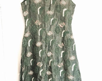 ON SALE Amazing womens green beaded sari tunic with gold embroidery and green beading side slits