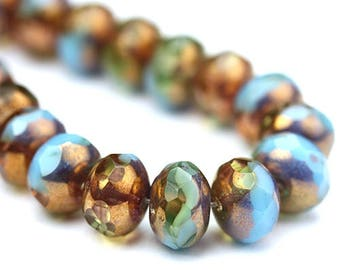 Czech Glass Beads Fire Polished Gemstone Donuts 9x6mm Blue and Jonquil Copper (12) CZF707