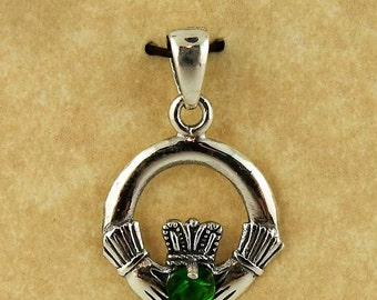 Sterling silver Irish Claddagh pendant with green Cubic Zirconia