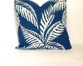 Tropical Pillow Cover - Blue Green Palm Leave Pillow - Hawaiian Beach Theme - Summer Pillows - Sunroom Pillow Cover - Vacation Theme Pillow