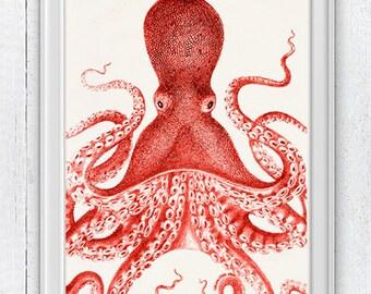 Big Red octopus, Nautical Print Beach Decor bathroom Decor Nautical Decor Wall Art Beach House Decor Octopus Picture SAS143