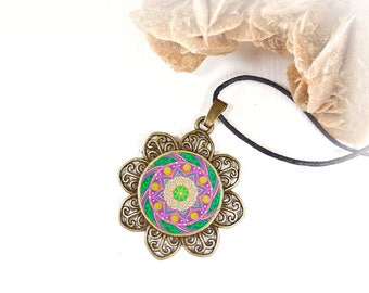 Tibetan amulet mandala print on lotus pendant, Valentine's day gift for wife, girlfriend, sacred geometry meditation, under 15 euro.