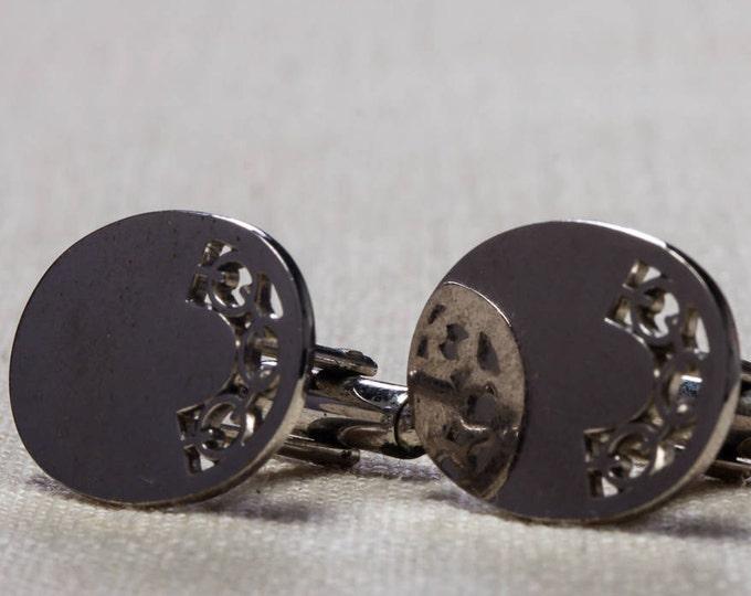 Vintage Cufflinks Shiny Silver Oval Links Design 1960s Men's Accessories Cuff Link Tuxedo Shirt Add On 7UU