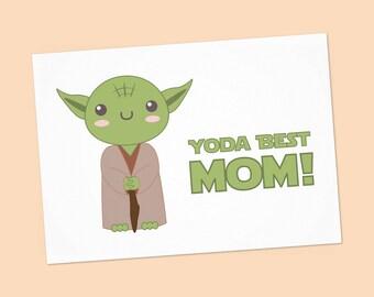 Yoda Best Mom card - Star wars Mother's day download card - Star wars printable card with Yoda - Instant Download  - PDF DIY - 6x4 inch