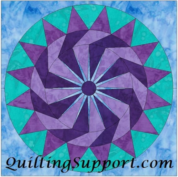 Blueberry Pie Circle 10 Inch Paper Piece Foundation Quilting