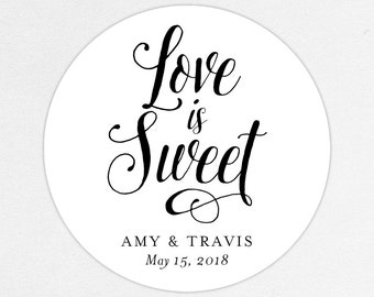 Love is Sweet Wedding Favor Labels, Love is Sweet Favor Tags, Love is Sweet Favor Stickers, Wedding Labels, Printed Labels, Monogram, Script