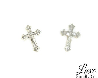 Cross Rhinestone Embellishment - 25mm*17mm - Baptism, Christening, Wedding, Blessing, Church - DIY Headbands, Crafts, Party Supplies - MR921