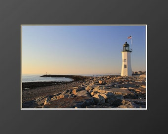 Scituate Light Photography Coastal Lighthouse Massachusetts Landscape Photograph Nautical Decor Old Scituate Lighthouse South Shore MA