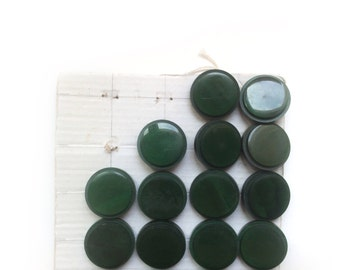 4 Dark Green Buttons, Antique, French Buttons