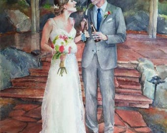 portrait from photo, custom watercolour painting, 1st anniversary