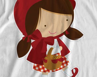 Little Red Riding Hood - Little Red (Hood Up) - Iron On Transfer