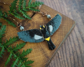 nature inspired bird statement necklace, black yellow bird pendant, modern necklace, enameled copper pendant, gift for her, for nature lover