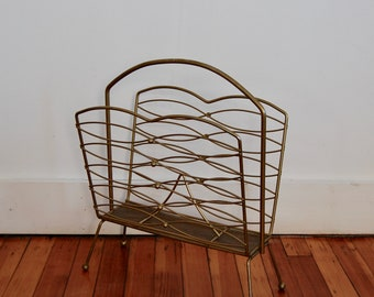 Mid Century Vintage Wire Magazine Rack - Metal Magazine and Record Holder - Vintage Metal Wire Organizer - Vintage Storage