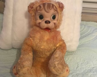 Rushton Creations Lion [vintage mid century rubber face plush]