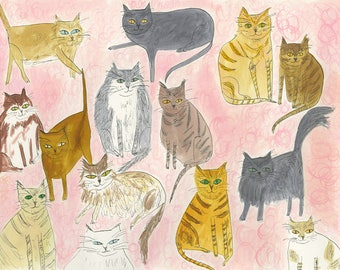 Fourteen Fat Cats.   Limited edition print by Vivienne Strauss.