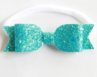 Gulf Waters Glitter Bow Headband - Turquoise Bow Headband - Turquoise Glitter Bow Headband - Baby Bow Headband - Nylon Headband