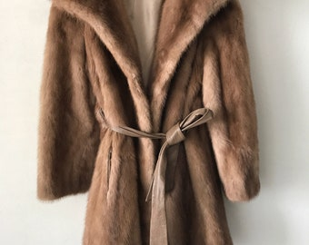 Vintage mink fur coat woman size small .