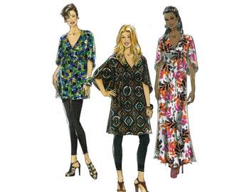 Uncut McCall's M6037, sewing pattern, size 8-16 women's top, tunic, caftan dress pattern, loose fitting maxi dress