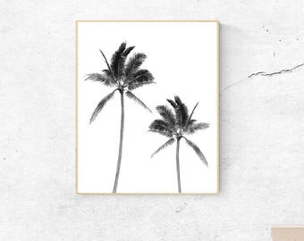 Printable palm tree, watercolor palm print, tropical print, black and white palm tree, black and white print, nature print, beach print