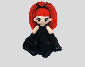 Evilyn Crochet Doll Portrait Doll Gothic doll voodoo doll Red hair doll Gothic Plush Doll Halloween gifts Will be made JUST FOR YOU