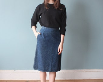 SALE denim pencil skirt | blue jean skirt | 80s small