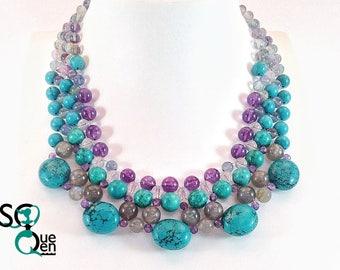 Natural gemstones - Turquoise, Labradorite necklace, Amethyst, Howlite...