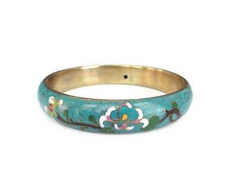Chinese Wide Blue Cloisonne Bangle Bracelet - Chinese Export Jewelry, Turquoise Enamel, Flower Bracelet, Vintage Bracelet, Vintage Jewelry