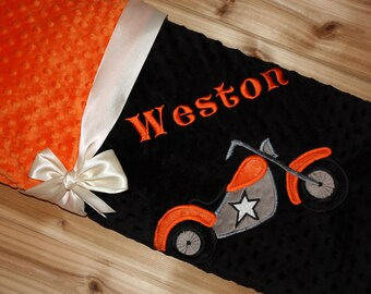 Motorcycle- Personalized Minky Baby Blanket - Black / Orange Minky - Embroidered Motorcycle