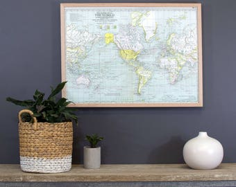 Around the World -  Map pinboard framed